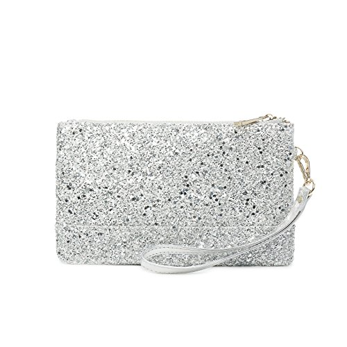 Lam Gallery Sparkling Clutch Purse Glitter Evening Clutch Bags Sequin Handbags Elegant Purses for Party Wedding Prom Bride-Silver by LAM GALLERY