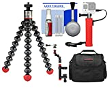 Joby GorillaPod 325 Magnetic Flexible Tripod with Case + Hand Grip + Action Camera Clamp + Kit