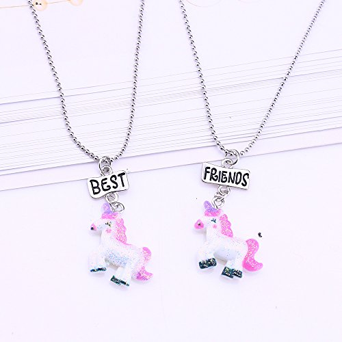 a46aaf604c8b Mejores amigas collares para niñas/niños Rainbow unicornio colgante ...