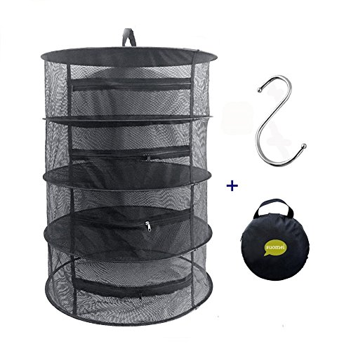SUOMEI 4 Layer Mesh Hanging Herb Drying Rack Dry Net with Zippers,Gift to S Hang buckle and storage bag,Black (Black) (Dry Net)