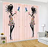 LB Butterfly Girl Window Curtains for Bedroom Living Room,Dressed Up African Girl Teen Kids Room Darkening 3D Blackout Curtains Drapes 2 Panels,28 by 65 inch Length