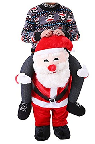 Christmas Ride On Riding Shoulder Adult Costume Santa Claus Easter Mascot Pants -