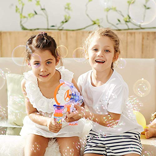 KKONES Bubble Gun Bubble Blower with LED Flashing Lights and Music, Bubble Toy for 1 2 3 4 5 Year Old Girls and Boys