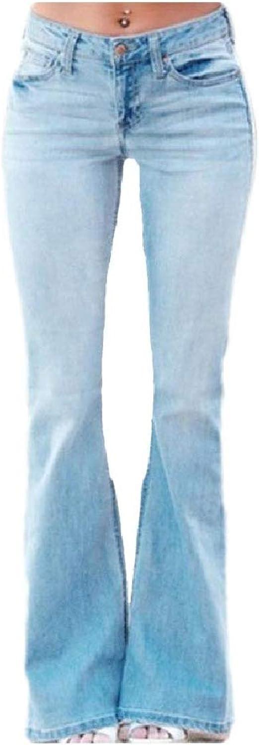 Nicellyer レディースフィットネスプラスサイズベルボトムミドルウエストウォッシュジーンズ