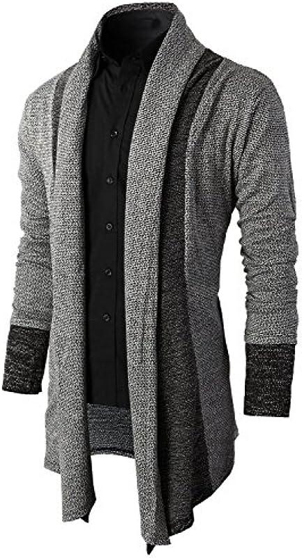 Brinny Męska kurtka z dzianiny Open długa kardigan Knit płaszcz dzianinowy bluza z kapturem bluza bluza bluza bluza bluza z kapturem: Odzież