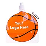 HydroPouch! 24 Oz. Basketball Collapsible Water Bottle - Patented - 100 Quantity - $3.40 Each - PROMOTIONAL PRODUCT / BULK / BRANDED with YOUR LOGO / CUSTOMIZED