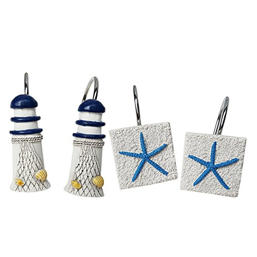 Chictie Beach White Shower Curtain Hooks Decorative Lighthouse Starfish Shower Rings Hangers Rust Proof by Chictie