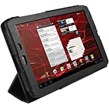 """iGadgitz Black PU Leather Case Cover for Motorola Xoom 2 Media Edition Droid Xyboard 8.2"""" Android Tablet 16GB Wi-Fi 3G + Screen Protector"""