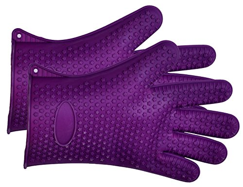Cutequeen Silicone BBQ Gloves Max Heat Resistant Grilling for BBQ,Grill,Oven,Smoking and Cooking Gloves, Baking,Purple(pacl of 2)