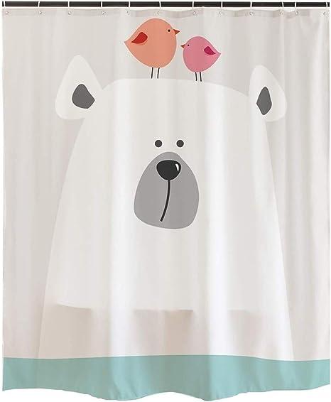 ofat home cartoon kids shower curtain sets with hooks cute polar bear bird bathroom accessories no liner needed waterproof washable gray 72x72