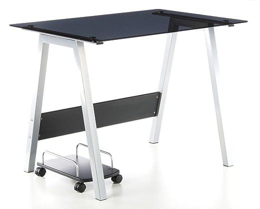 hjh Office 673925 Delphi - Mesa ordenador vidrio, negro/plateado ...