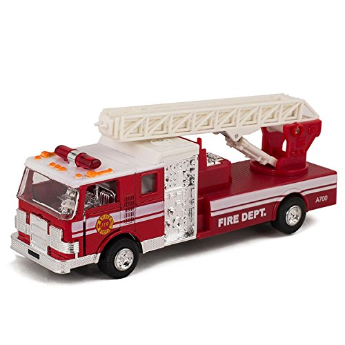 Master Toy Children's Collectible Die-Cast Metal Pull-Back Action & Sound Fire Engine Truck with Ladder, -
