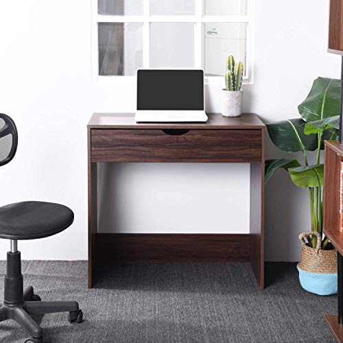 Computer Writing Desk with 1 Storage Drawer Wooden Study Table Desk for Home Office, Walnut Brown TAR012 by Coavas (Image #3)