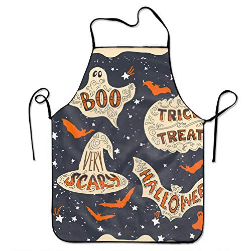 Dreamting Unisex Scary Halloween Apron for Women and Men Polyester Durable Comfortable Bib Chef Kitchen Aprons ()