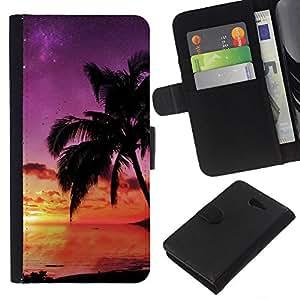 EJOY---La carpeta del tirón la caja de cuero de alta calidad de la PU Caso protector / Sony Xperia M2 / --Puesta de sol de coco Beautiful Nature 121