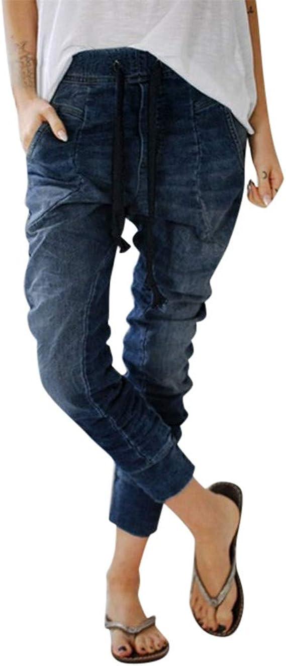 Imagen deHCFKJ Bolsillos De Jeans con CordóN para Mujer Pantalones De Mezclilla Holgados De Mezclilla Pantalones De Socorro