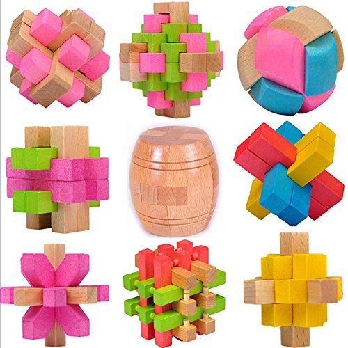 9pcs/Lot Intelligence Toy Wooden Wisdom Lock Kong Ming &Lu ban Lock Chinese Classical Educational Toy Children Adult Chritmas Birthday (Ban Music Book)