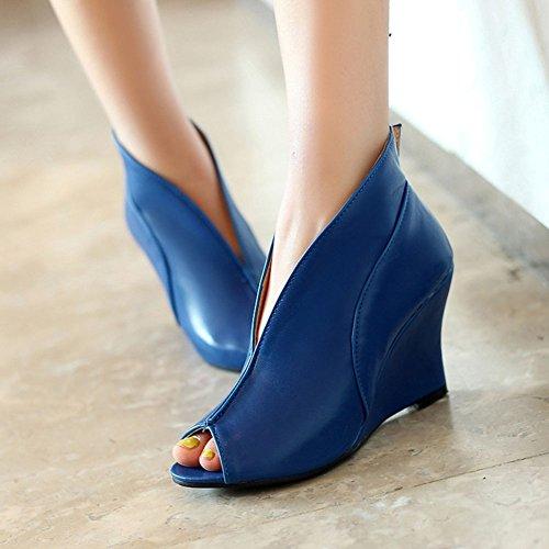 Aisun Damen Elegant Lederoptik Peep-Toe High-Top Keilabsatz Pumps Blau