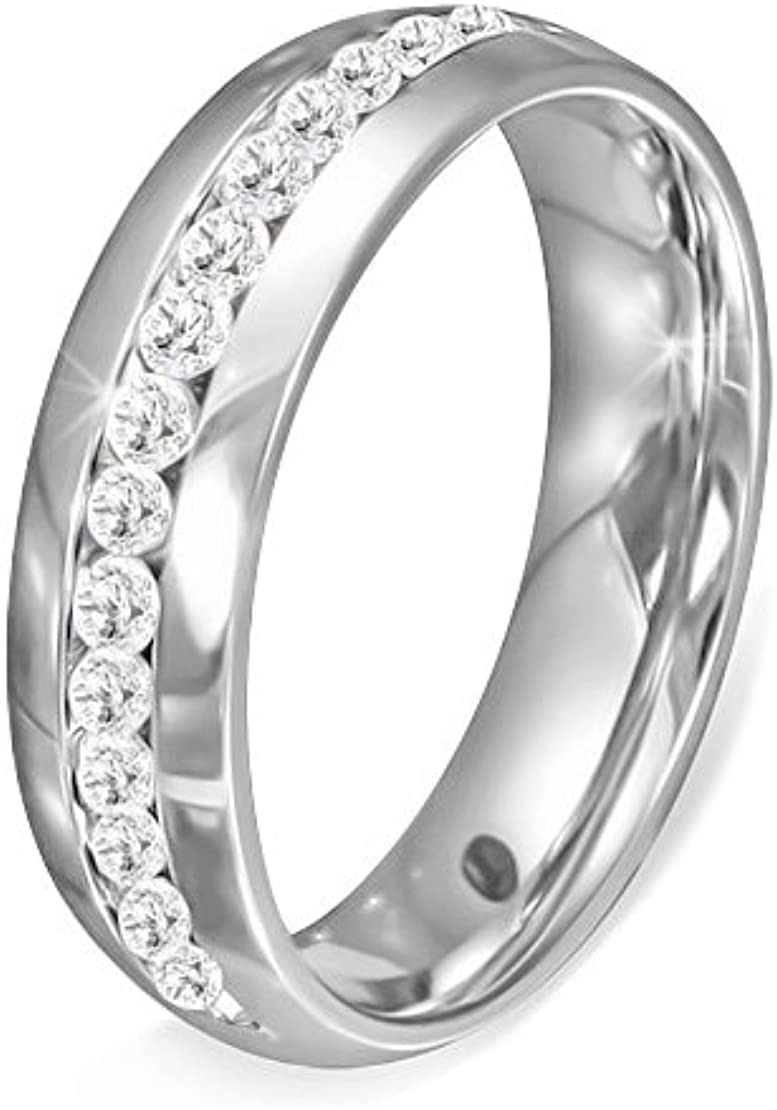 Stainless Steel Channel-Set Eternity Comfort Fit Wedding Band Ring with Clear CZ