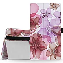 MoKo Lenovo Tab3 7 Case, Ultra Compact Premium Slim Folding Stand Cover Case for Lenovo Tab 3 7 Inch Tablet 2016 Release, NOT FIT Lenovo Tab 3 Essential, Floral Purple