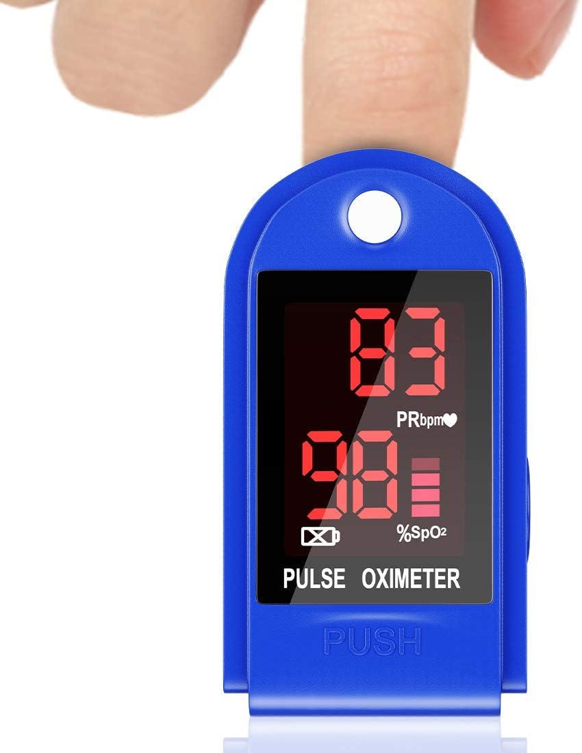 Oxímetro de Pulso Sp02 Oxímetro de Dedo Digital, Monitor de Oxígeno Portátil, Monitor de Frecuencia Cardíaca para Adultos, Niños, Mayores