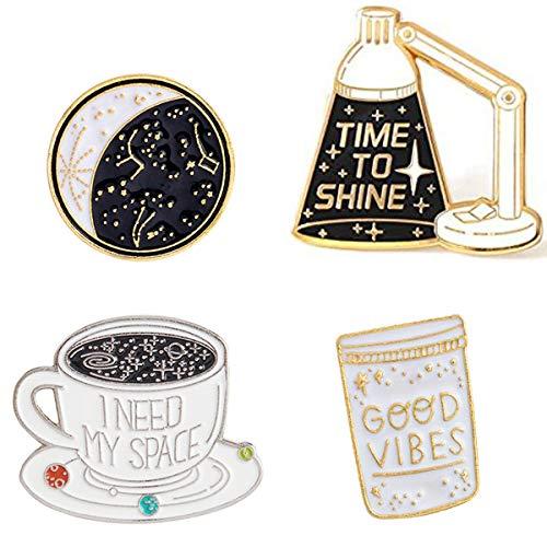 GuassLee Cute Enamel Brooch Pin Set - 4pcs Cartoon Lapel Pins Badges for for Women Girls Child Clothes Backpacks Decor … ()