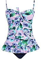Marina West Long Retro Ruffle Tankini Top Bikini Swimsuit Swimwear Set (Large / 10, Lavender Rose)