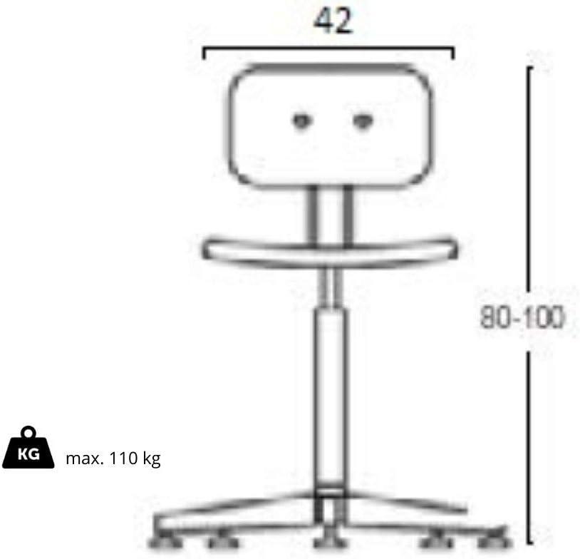 Grendene Chairs Sgabello Professionale da Lavoro in faggio Girevole Regolabile ergonomico