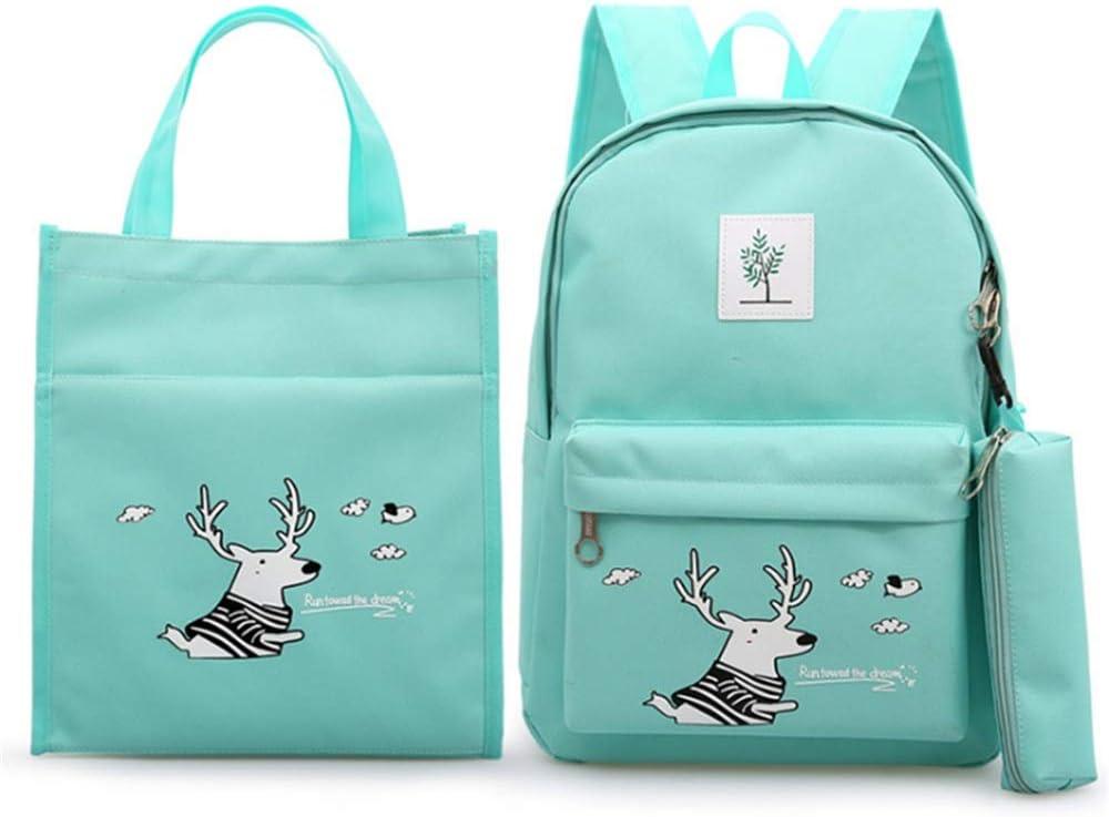 Color : Green MAODATOU Canvas Laptop Backpack Set Cute Deer Printing 3 in 1 Girls Backpack Sets Pack of 3 Pcs Students Backpack Bookbag Canvas School Bags Canvas School Backpack 3Pcs