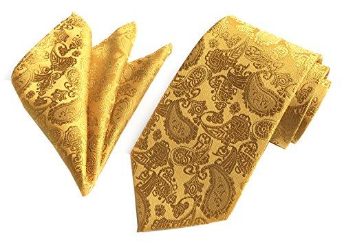 Secdtie Men's Gold Lemon Yellow Silk Tie Necktie for Wedding Party Fancy BF - Necktie Gold