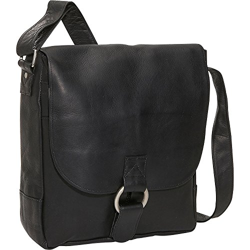 David King Leather Vertical Laptop Messenger Bag in Black (King Flap Small David)