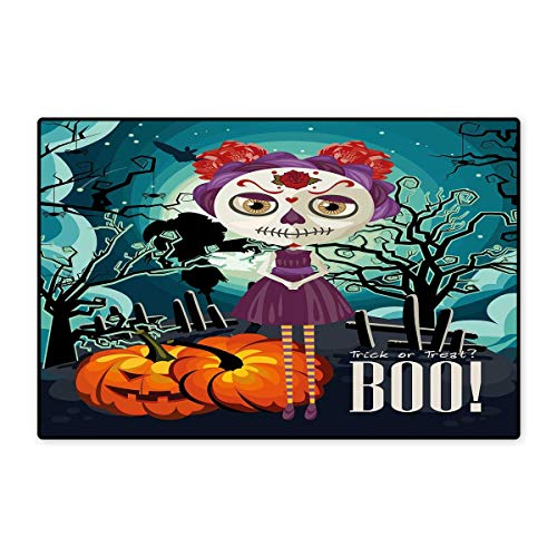 Halloween Door Mat Small Rug Cartoon Girl with Sugar Skull Makeup Retro Seasonal Artwork Swirled Trees Boo Bath Mat for Bathroom Mat 16