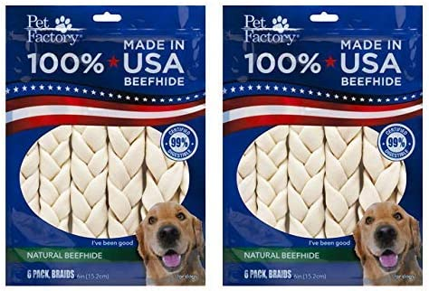 Pet Factory Beefhide 6 Braided Sicks, 6 Per Pack
