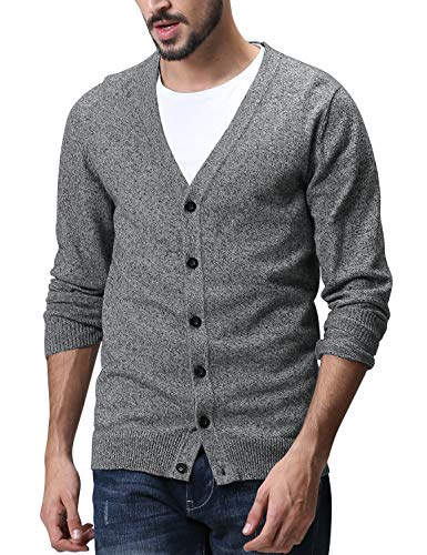 Match Men's Sweater Series V-Neck Button Up Cardigan #Z1522(US 2XL (Tag Size 4XL),Z1522 Medium Heather Gray)