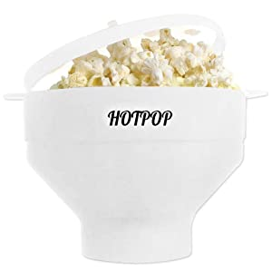 The Original HOTPOP Microwave Popcorn Popper, Silicone Popcorn Maker, Collapsible Bowl BPA Free & Dishwasher Safe (White)