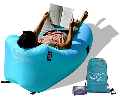 Inflatable Air Lounger Sofa Bed With Special Headrest Design. Strong Waterproof Parachute Material. Lightweight Lounge Chair Couch For Camping, Pool, Festival & Beach. Back Bag & Warranty Included. (Cheap Sofa Beds)