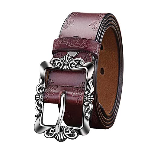 LUXUR Women Embossed Leather Belts Vintage Silver Buckle Fashion Genuine Premium Leather Belts for Pants or Dresses Brown-S