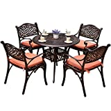 Cheap YONGCUN Outdoor Patio Furniture Cast Aluminum Dining Set Patio Dining Table Chair Color is Antique Bronze One 35.4″ Table Four Chair