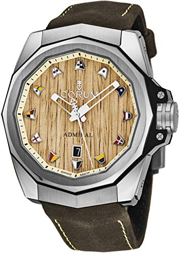 Corum Admiral 45 Mens Titanium Automatic Watch - 45mm Wood Face with Nautical Flags, Luminous Hands, Date and Sapphire Crystal - Brown Leather Band Swiss Made Watch 082.500.04/0F62 AW01