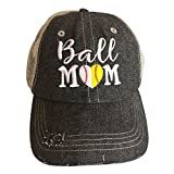 Cocomo Soul Embroidered Ball MOM Softball Mom Baseball Mom Mesh Trucker Style Hat Cap