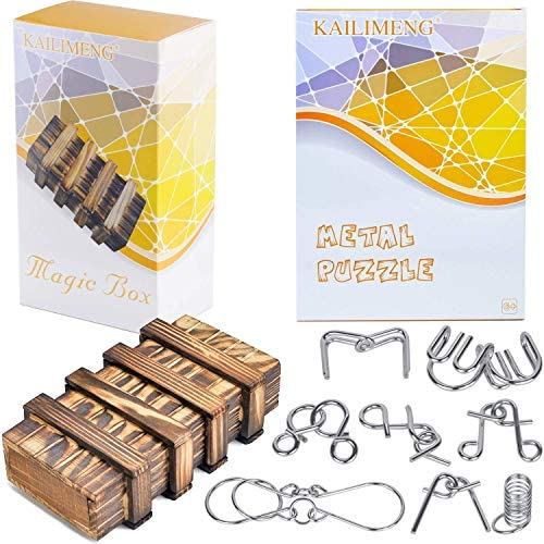 KAILIMENG Puzzle Box Magic Box Brain Teaser 3D Wooden Puzzle Wood Secert Box with 2 Hidden Compartment Drawers