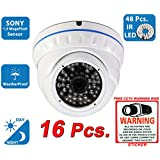 Evertech 1200TVL Day Night Vision Outdoor Indoor Dome CCTV Security Camera Compatible AHD TVI CVI and Traditional Analog DVRs w Free CCTV Sticker Warning Sign (16 pcs. 1200TVL)