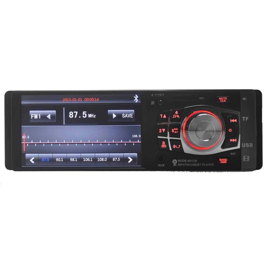 PolarLander 4,1 Pulgadas de Pantalla TFT HD Radio de Coche estéreo Bluetooth tamaño 1 DIN Soporte cámara de visión Trasera TF USB AUX IN Reproductor MP4 ...