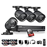 Sannce 8CH 960H CCTV DVR System with 4x 800TVL Security Bullet Cameras & 1000GB Hard Drive included (QR Code Scan, Plug & Play, HDMI Output,USB Backup, Super Night Vision)