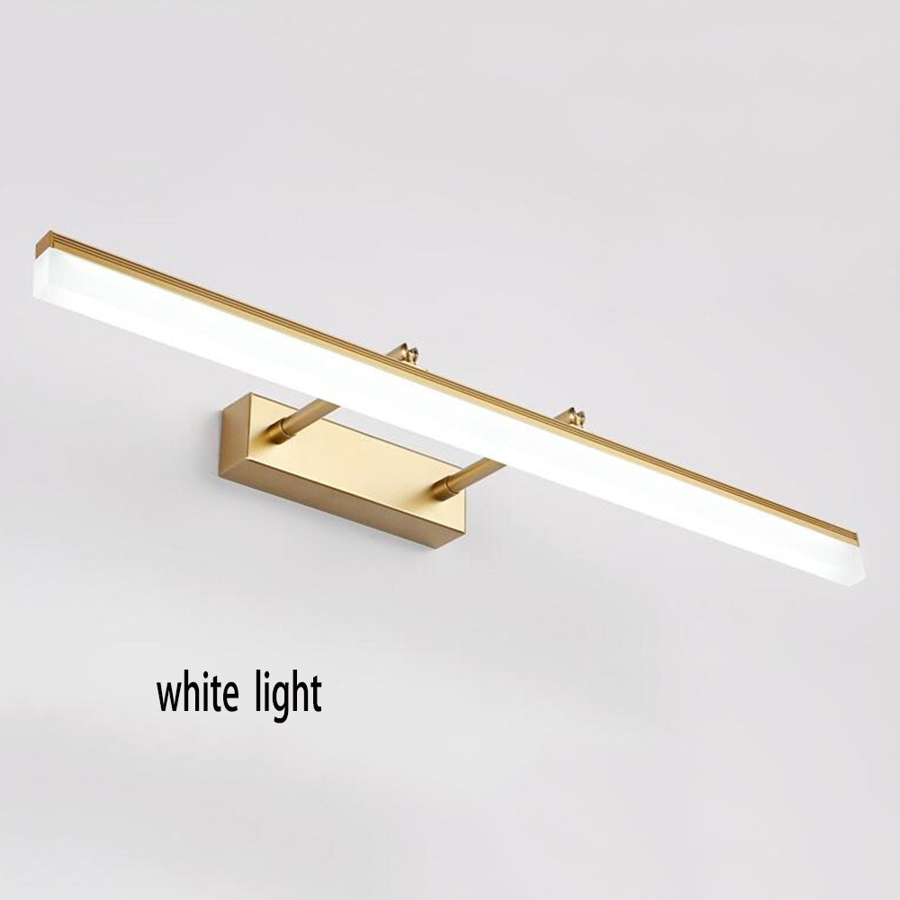 Jingqiandeng MEIDUO Bathroom Vanity Lighting Wall Lights Mirror Front Lamps Bathroom Stainless Steel LED Chip Warm Light/White Light (Color : White light, Size : Gold-60cm-14W)