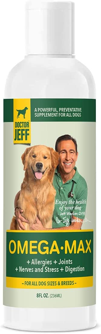 Dr. Jeff's OmegaMax, All-Natural Supplement for Dogs, w/ Omega 3s, Omega 6s and Probiotics for Allergy Help, Joint Relief, Digestion and Calming Anxiety, Made from Mackerel and Flaxseed Oils, 8 FL OZ