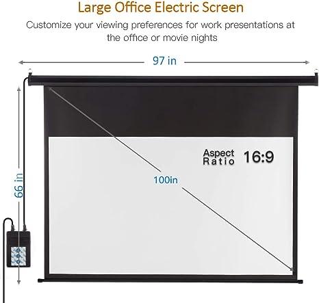Amazon.com: Pantalla proyector motorizada con mando a ...