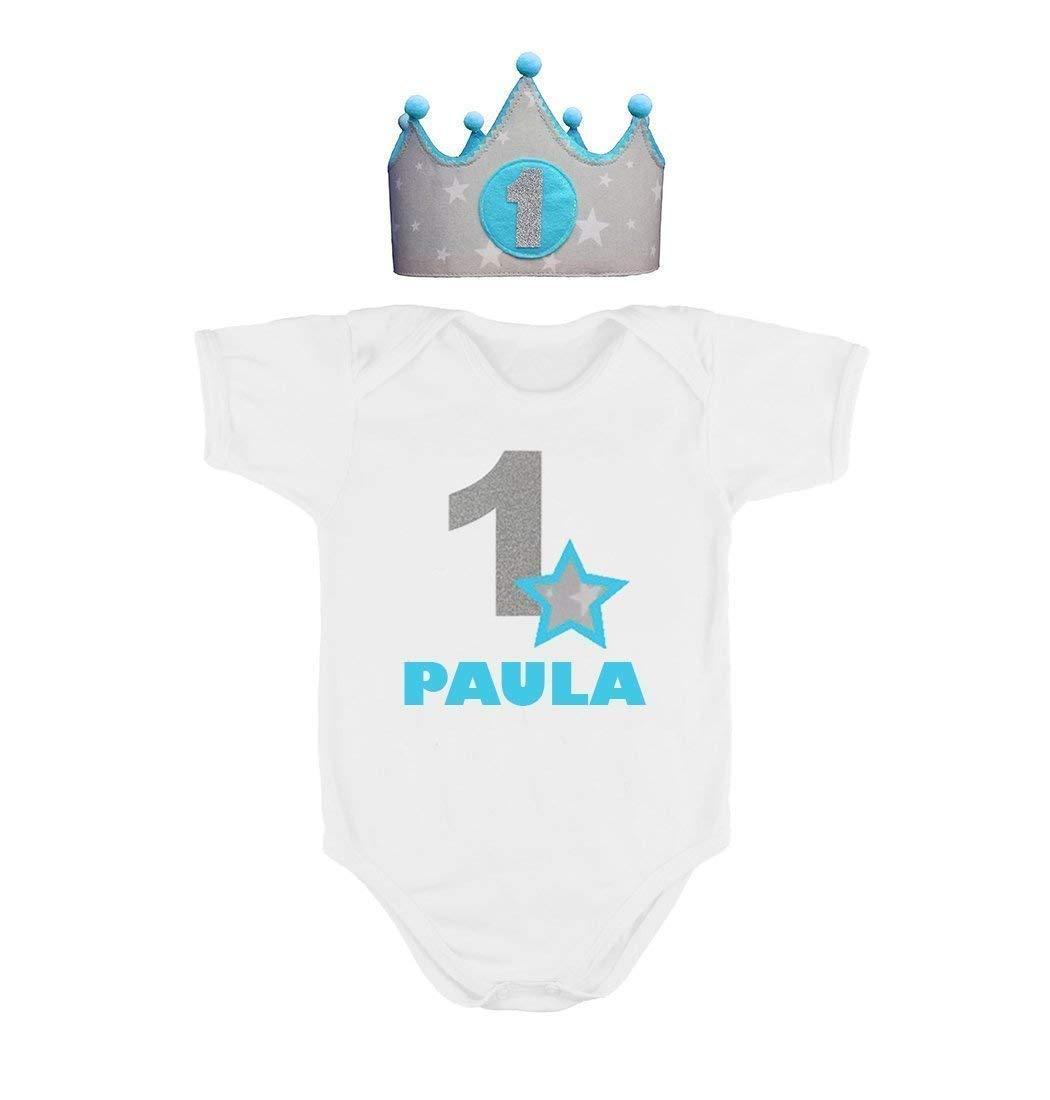 Corona + Body o Camiseta personalizada nombre primer cumpleañ os 1 añ o para niñ as y niñ os azul