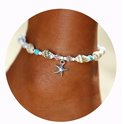 17mile Blue Starfish Charm and Turquoise Pearl Bead Link Anklet Adjustable Gifts for Women and Girls