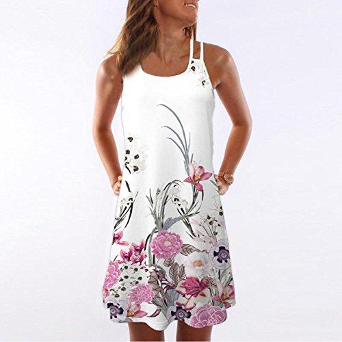 UONQD 2019d Women Summer Vintage Sleeveless 3D Floral Print Bohe Tank Short Mini Dress
